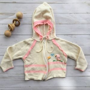 Baby girl vintage embroidered duckling sweater